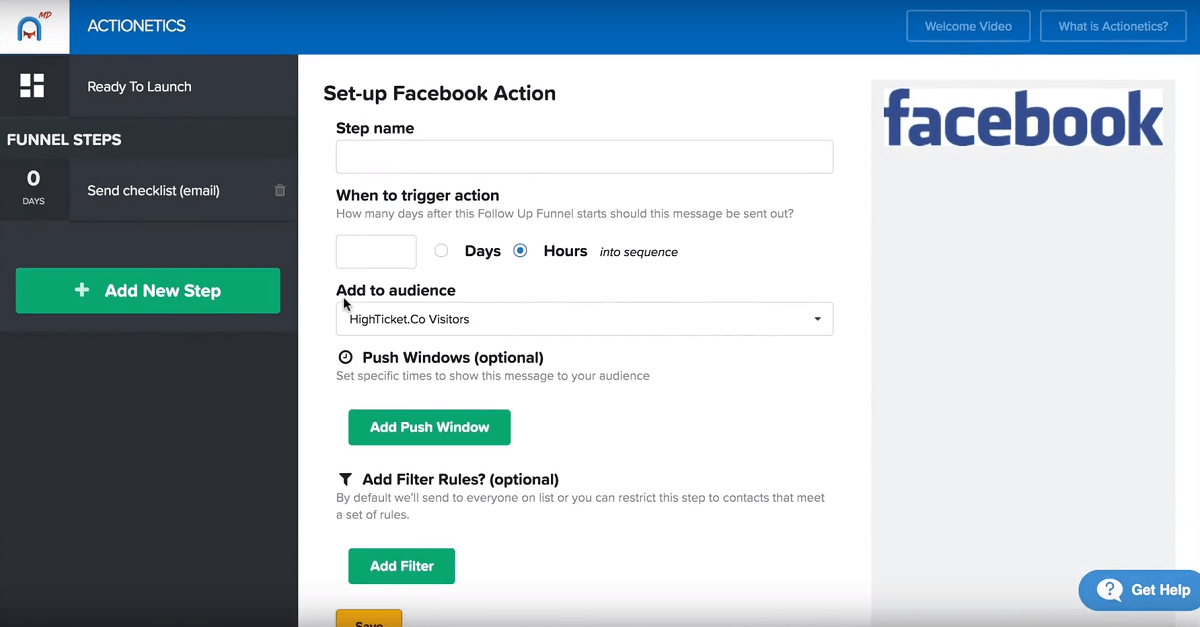 actionetics md facebook messenger retargeting setup clickfunnels