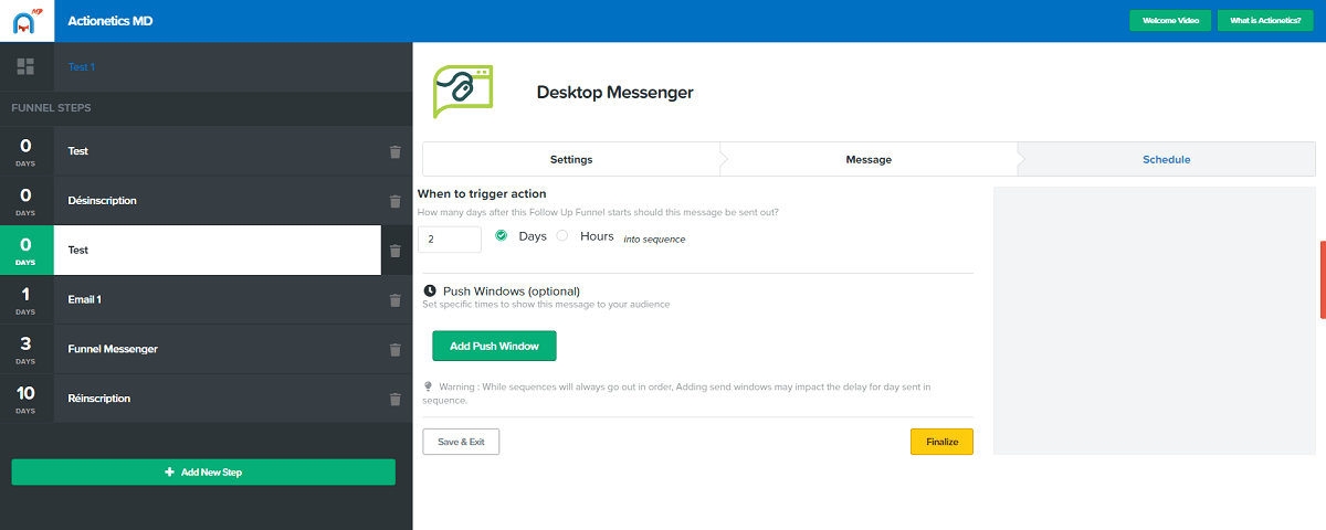 actionetics md desktop messenger shedule clickfunnels