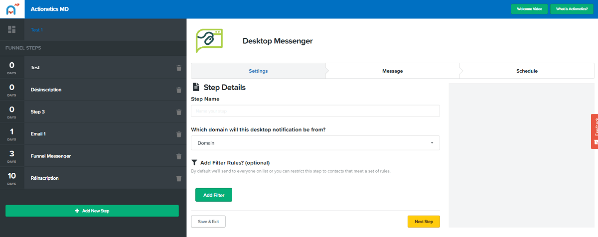 actionetics md desktop messenger settings clickfunnels