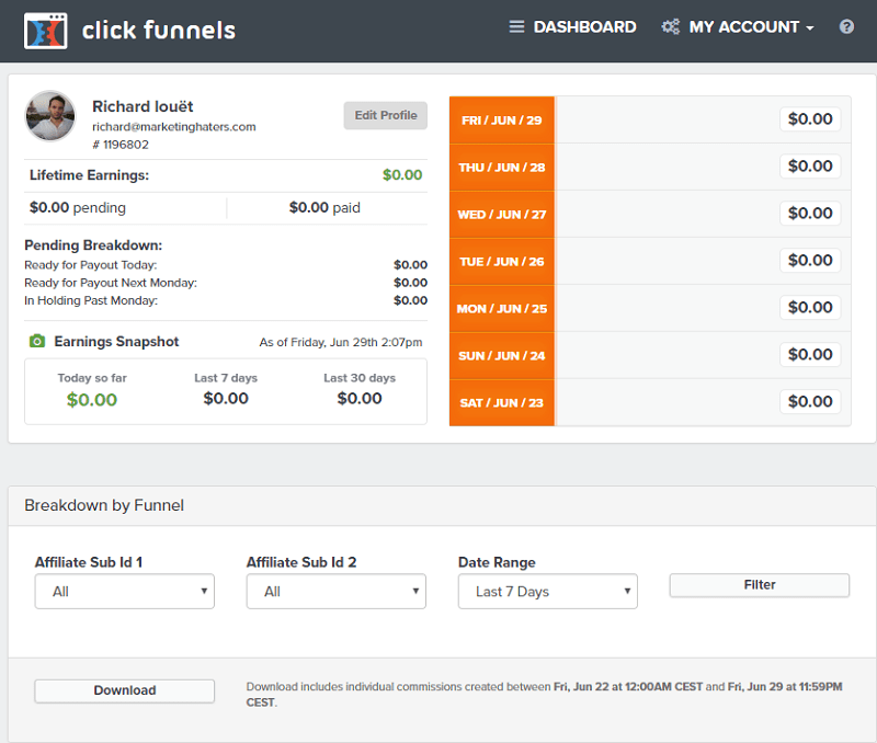 backpack dashboard affiliés clickfunnels