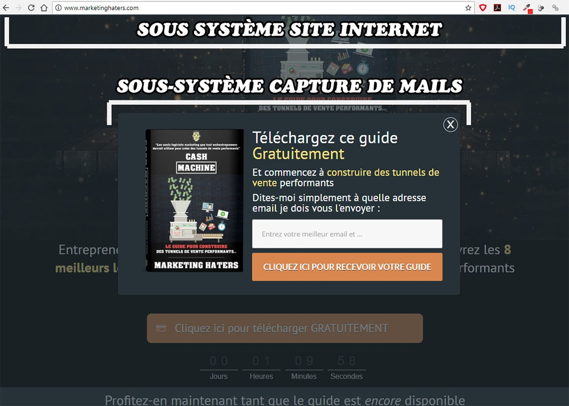 entonnoir de prospection : créer un tunnel de conversion marketing : sous-syst-me capture de mail