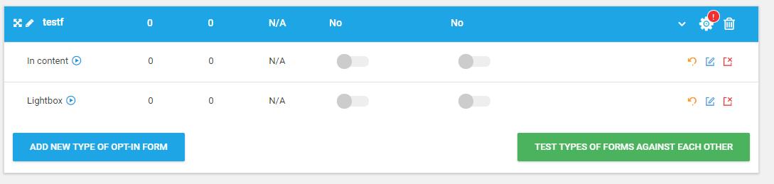 test a/b chaque type de popup thriveleads