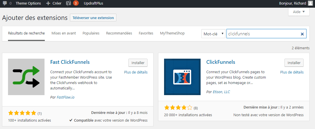 Ajouter l'extension WordPress Clikcfunnels