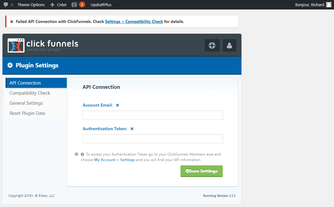 "Menu""Settings"" du plugin WordPress Clickfunnels"